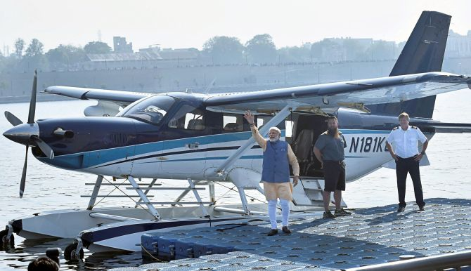 PM Modi's Seaplane Ride On Sabarmati On Last Day Of Gujarat Campaign