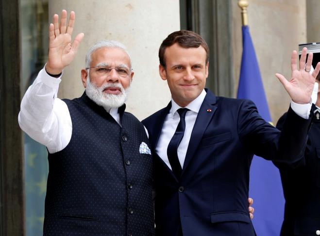 PM Modi meets French President Macron at Elysee Palace