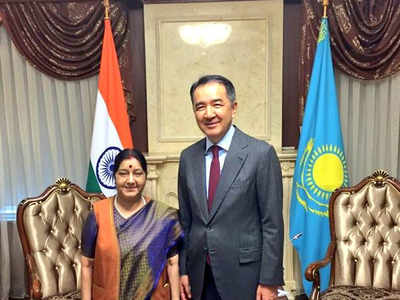 Swaraj meets Kazakhstan counterpart, discusses ways to deepen cooperation