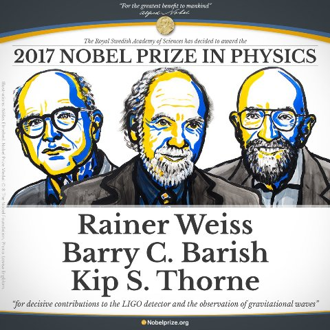 Nobel Prize in Physics to be given to Rainer Weiss, Barry C Barish and Kip S Thorne for gravitational waves