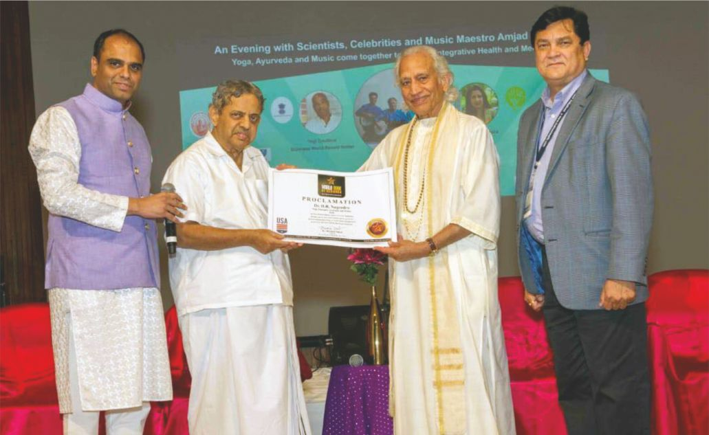 Dr. H.R. Nagendra (Yoga Guru of PM Narendra Modi) gets honored by World Book of Records (USA)
