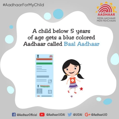 Now, a blue coloured 'Baal Aadhaar' for children below 5 years