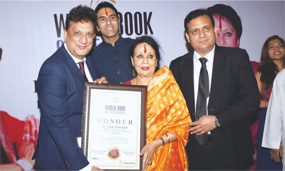 Padma Vibhushan Dr. Sonal Mansingh, MP gets honoured by World Book of Records – London