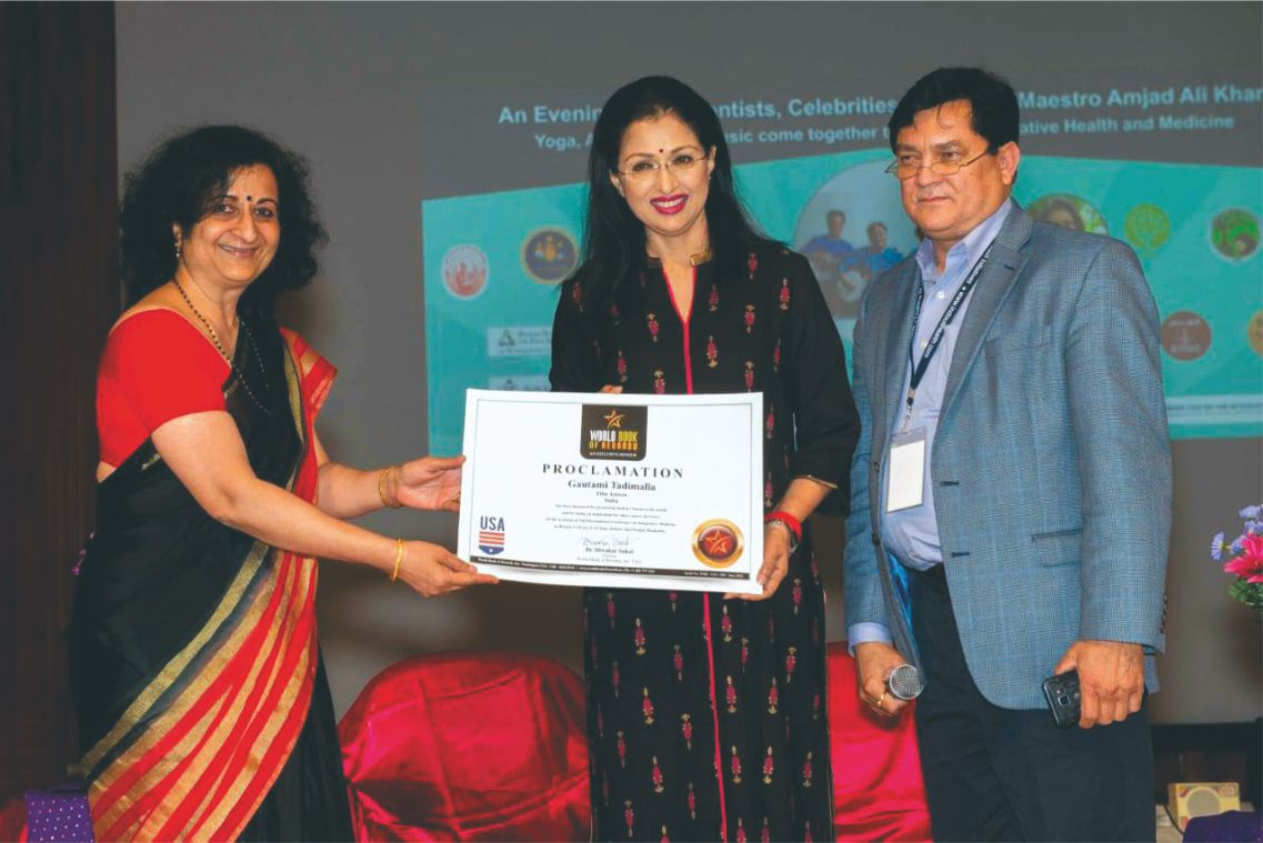 Tamil Film Actress Gautami of India gets felicitated by World Book of Records (USA)