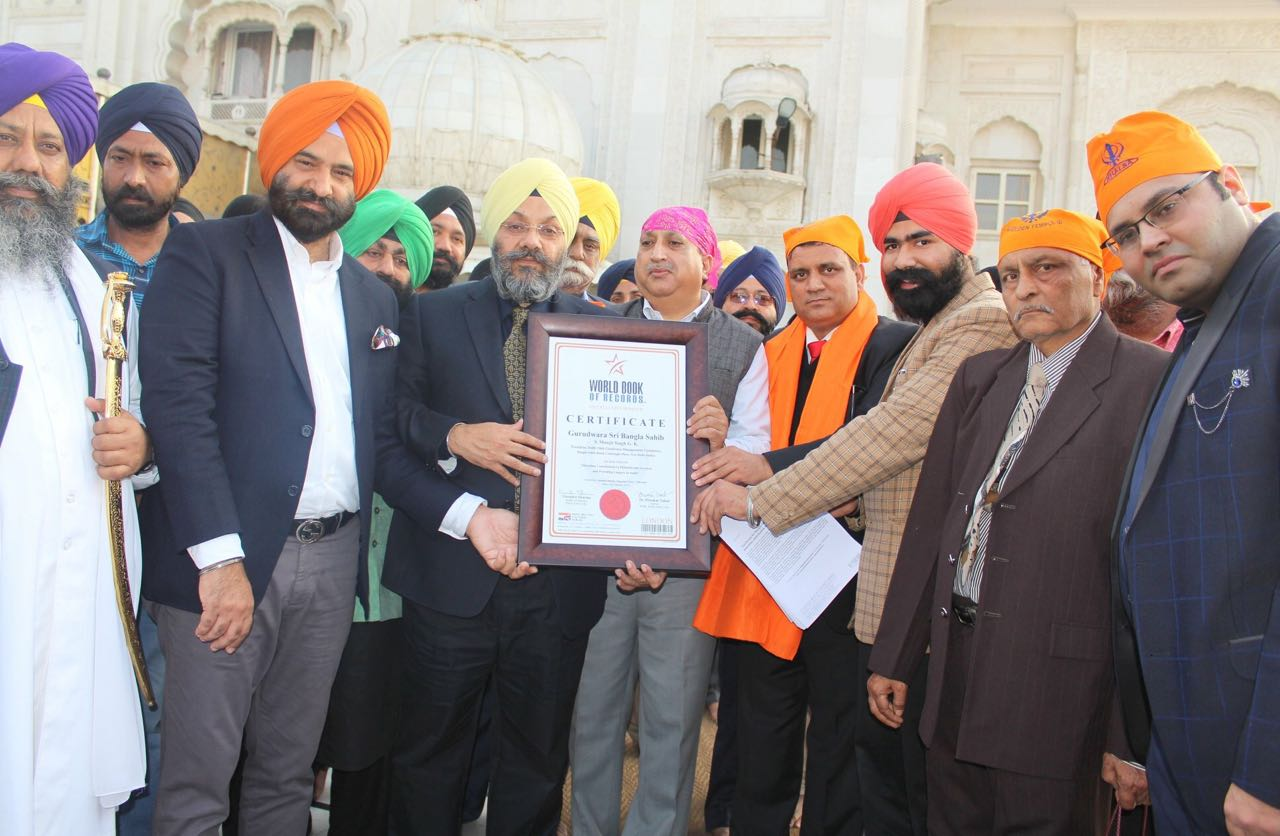 Gurudwara Sri Bangla Sahib gets listed in World Record for matchless contribution to philanthropic services