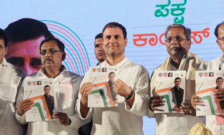 Cong's Karnataka polls manifesto released by Rahul promises 1 cr jobs