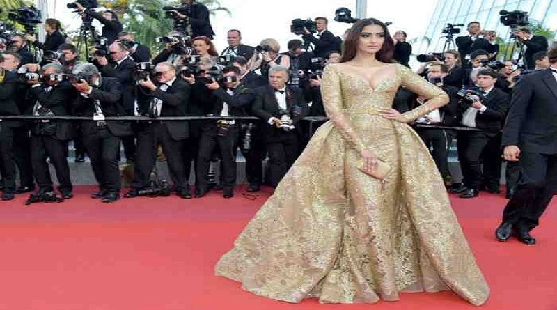 Sonam Kapoor glitters in gold at Cannes