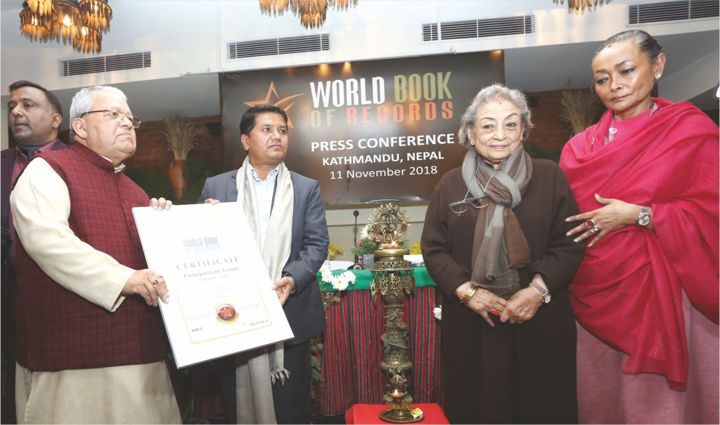 Pashupatinath Temple of Kathmandu (Nepal) gets included in World Book of Records, London