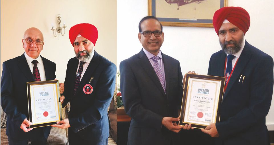 Pawan Kumar Kailey of Jalandhar (Punjab) India gets honoured in London by World Book of Records