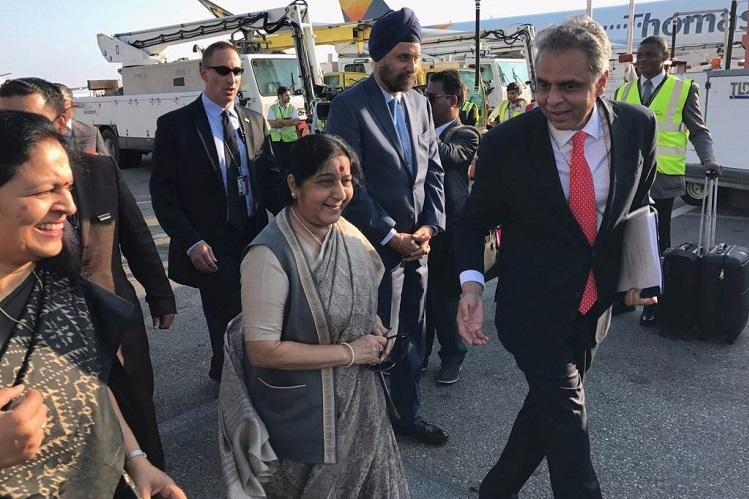 Swaraj arrives in New York to attend UN General Assembly meet