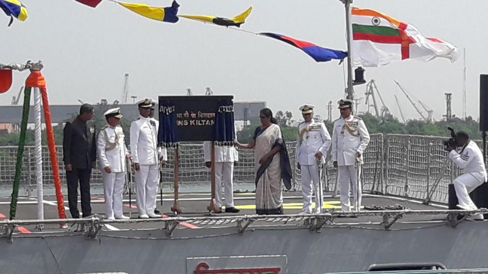 Sitharaman commissions INS Kiltan into Navy