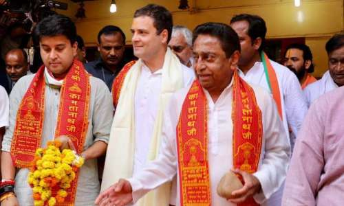 Rahul begins MP tour, offers prayers at temple