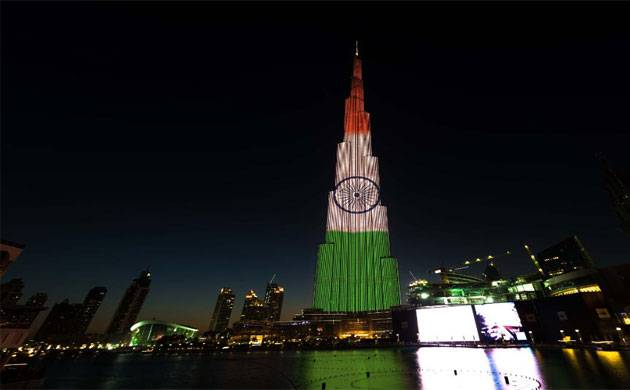 Dubai's iconic buildings light up in colours of Indian Flag