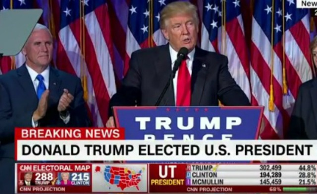 In gracious post-win speech, US President-elect Donald Trump thanks Hillary Clinton and talks of 'reclaiming America's destiny'