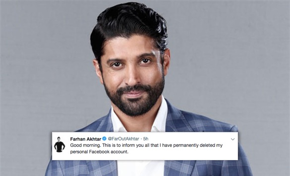 Farhan Akhtar deletes Facebook account