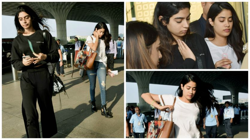 Janhvi, Khushi Kapoor to attend Sridevi's prayer meet in Chennai, spotted at airport