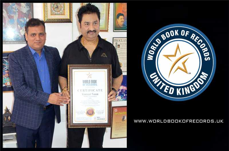Bollywood Playback Singer Padma Shri, Kumar Sanu India gets included in World Book of Records, London