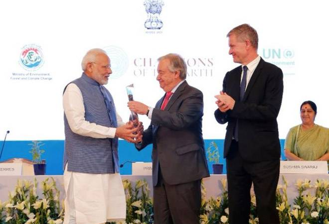 PM Modi receives UN's Champions of the Earth award