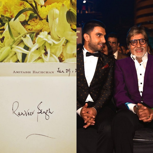 Amitabh Bachchan sends handwritten letter of appreciation to Ranveer Singh