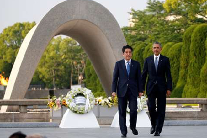 Barack Obama pays tribute at Hiroshima nuclear memorial
