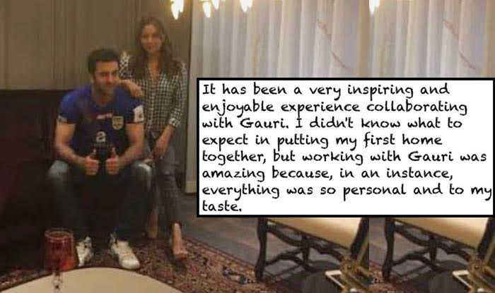 Ranbir Kapoor thanks Gauri Khan for his 'first home', see his heartfelt note