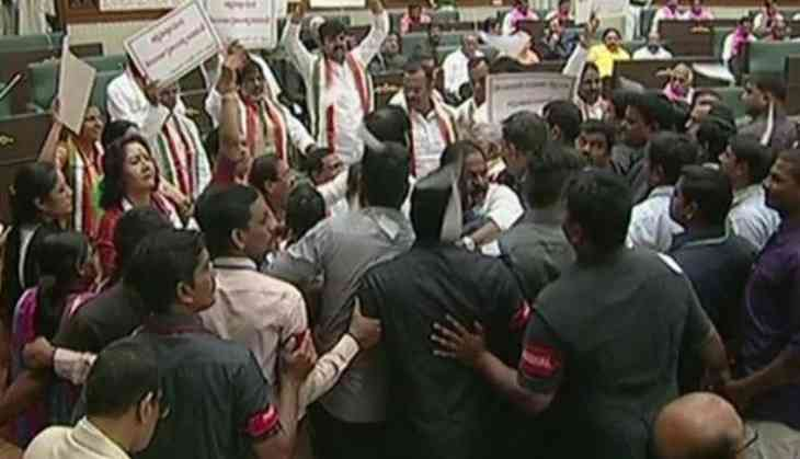 Telangana Assembly : 2 Cong MLAs expelled, 9 suspended