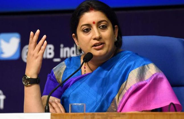 'Aunty National' Irani hits back at Bihar minister with FB post amid 'Dear' row