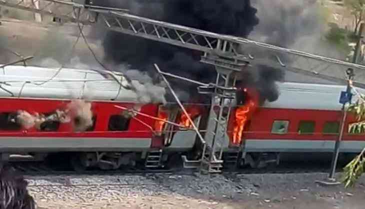 Andhra Pradesh AC Superfast Express train catches fire near Gwalior, no casualties